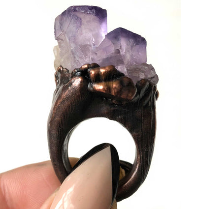 Purple Fluorite Cube Ring