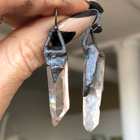 Clear Quartz Laser Point Crystal Earrings