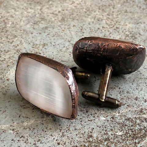 Selenite Polished Stone Cufflinks