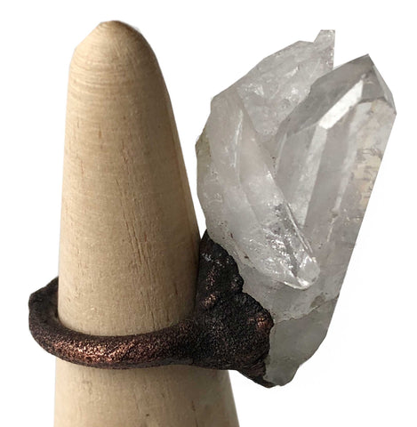 Tall Rough Quartz Crystal Ring