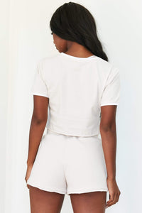 Cream Cropped T-Shirt