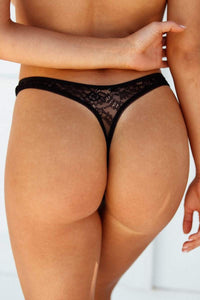 Black Picot Edged Lace Thong