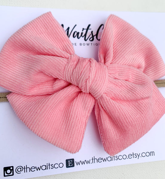 Pink Corduroy Bow