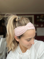 Pink Floral Twisted Headband