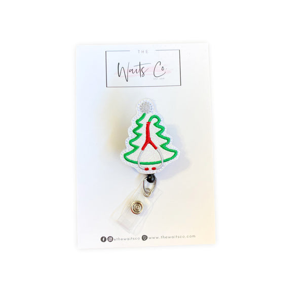Stethoscope Christmas Tree Badge Reel/Clip
