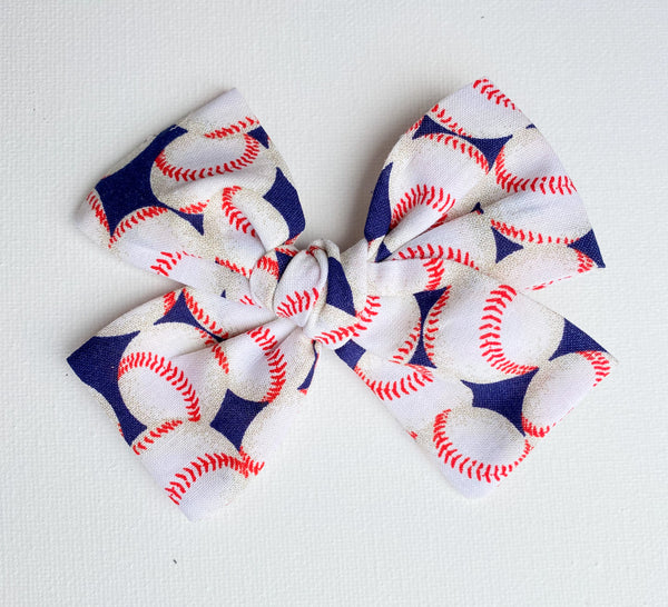 Navy Blue Baseball Bow