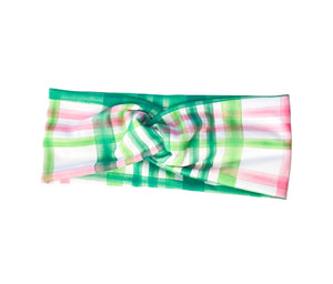 Green and Pink Plaid Headband