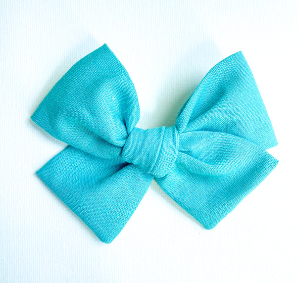 Teal Linen Bow