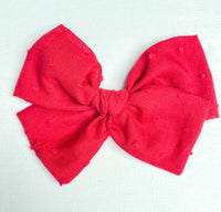 Red Swiss Dot Bow