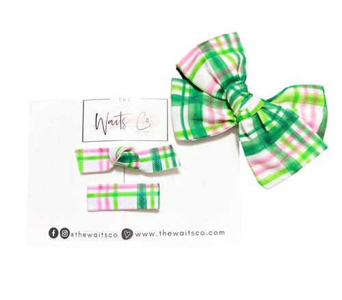 Green and Pink Plaid Clip Set