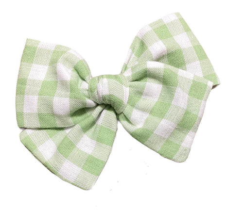 Green Gingham Bow -  NO SHAMROCK
