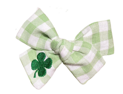 Green Gingham Bow -  EMBROIDERED SHAMROCK