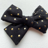 Studded Black Bow