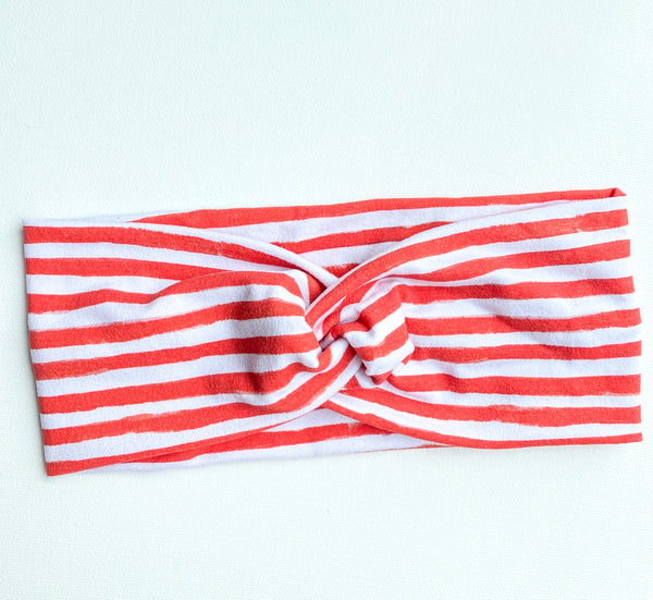 Red Stripes Twisted Headband