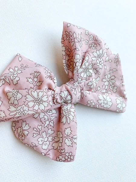 Pink Solid Floral Bow