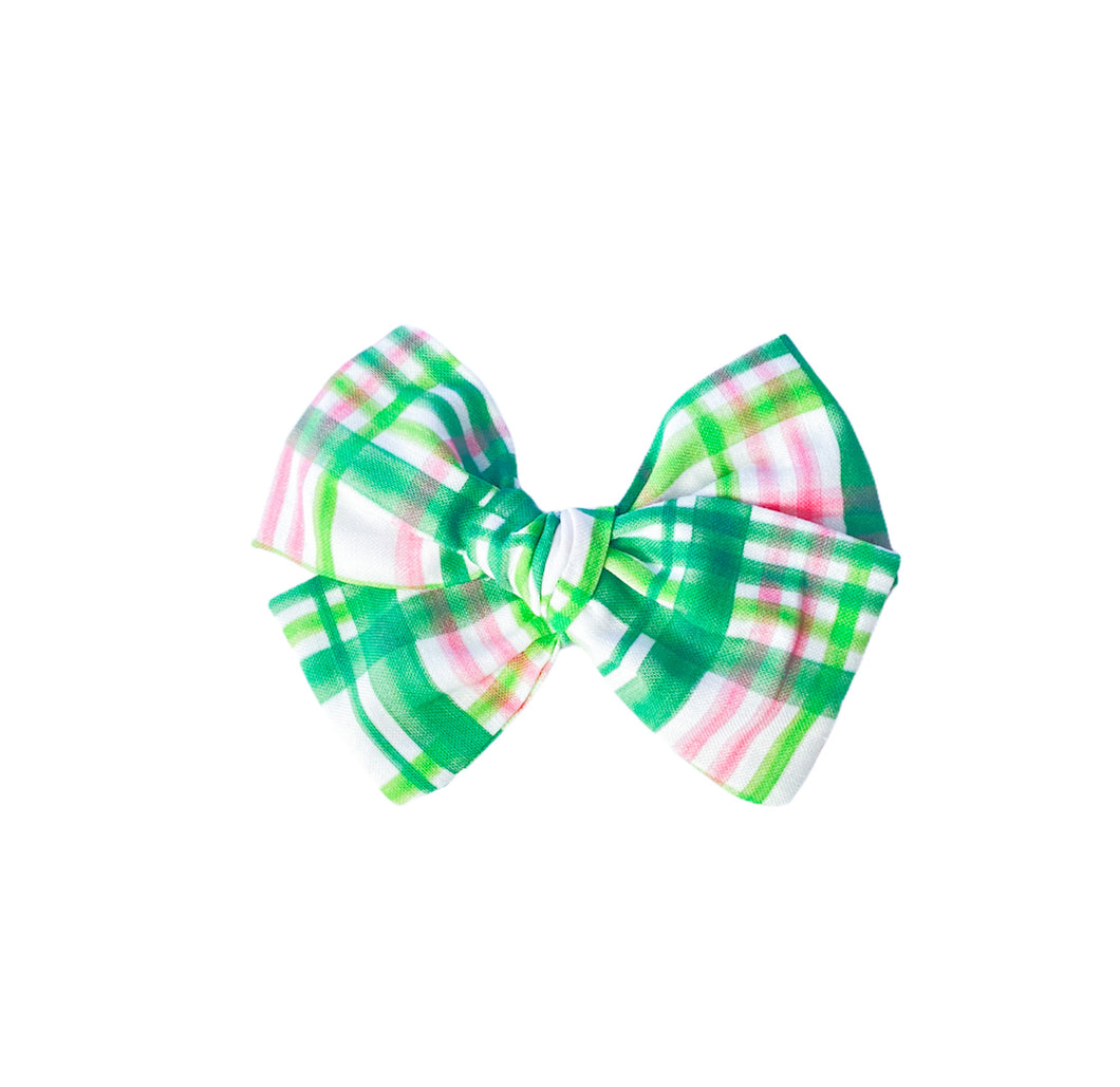 Green and Pink Plaid Bow