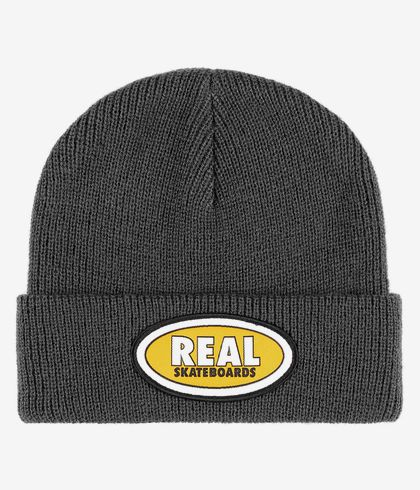 real beanie oval dark grey/yellow
