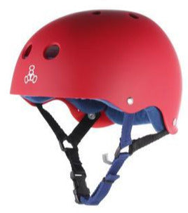 Triple Eight Red Rubber Helmet Blue Padding medium