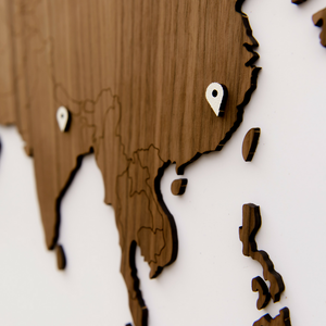 EXCLUSIVE WOODEN WORLD MAP - WALNUT - Homizmo