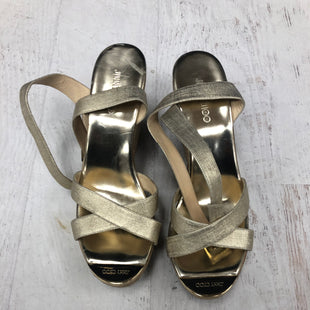 Primary Photo - BRAND: JIMMY CHOO STYLE: SANDALS HIGH COLOR: GOLD SIZE: 10.5OTHER INFO: AS IS SKU: 193-19357-55702