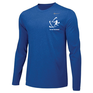 Men's NIKE® Dri-Fit Long Sleeve T-Shirt - Royal Blue, Carbon Gray (Small Logo)