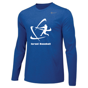 Men's NIKE® Dri-Fit Long Sleeve T-Shirt - Royal Blue, Carbon Gray (Large Logo)