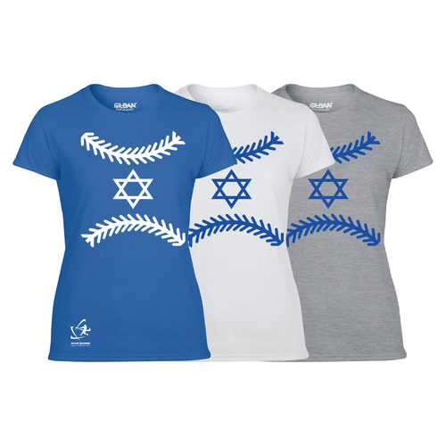 Women's Star of Baseball Short Sleeve T-Shirt - Blue, White, Gray
