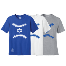 Load image into Gallery viewer, Men's Star of Baseball Short Sleeve T-Shirt - Blue, White, Gray