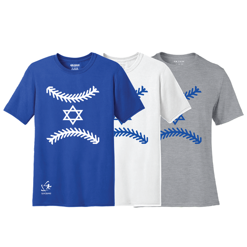 Men's Star of Baseball Short Sleeve T-Shirt - Blue, White, Gray