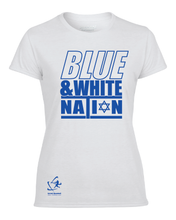 Load image into Gallery viewer, Women's Blue & White Nation Short Sleeve T-Shirt - Blue, White, Gray