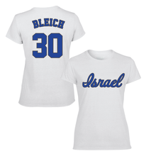 Load image into Gallery viewer, Women's Jeremy Bleich Name and Number T-Shirt - Blue, White