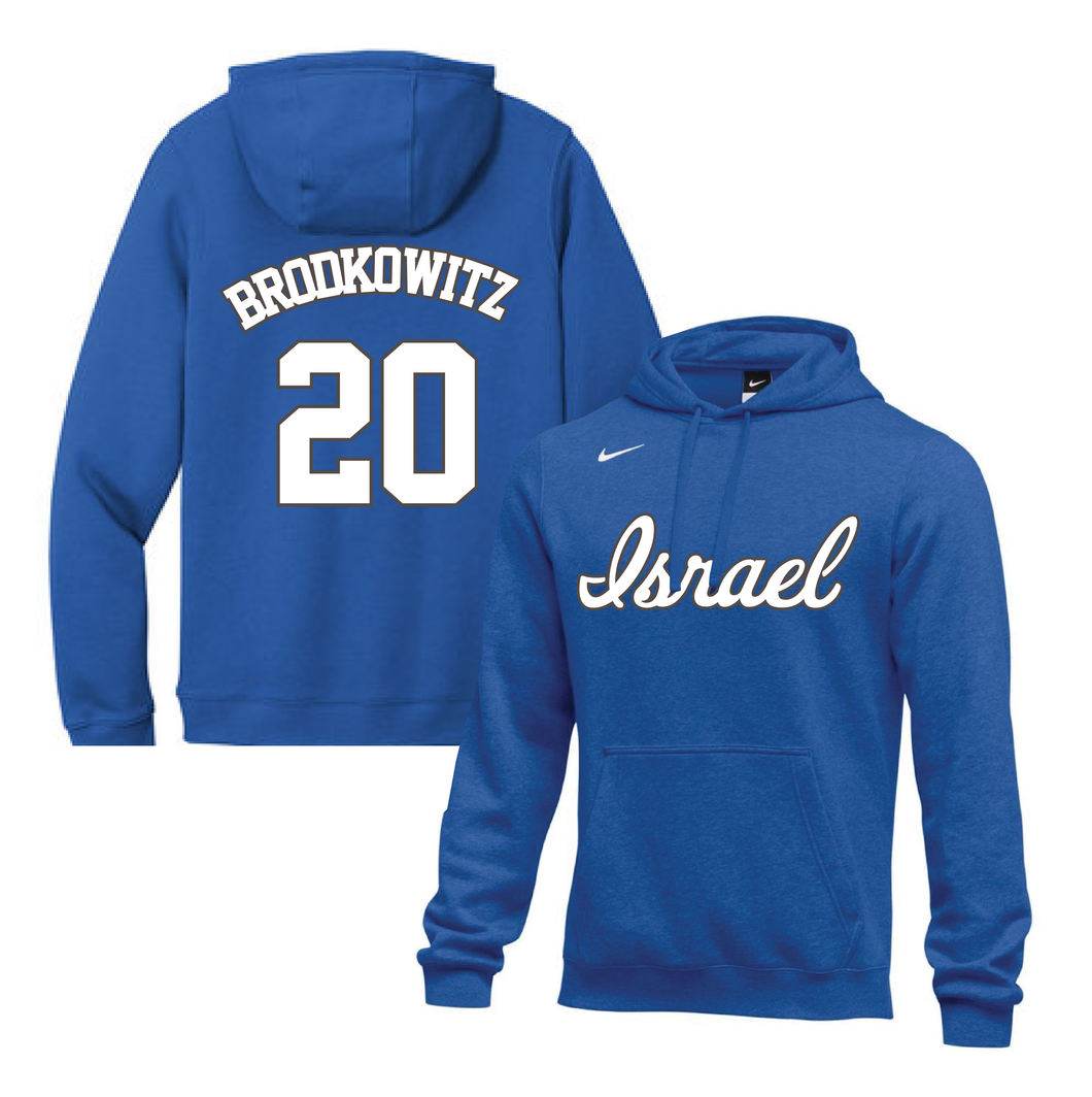 Youth Eric Brodkowitz Name and Number NIKE® Hoodie - Blue, White