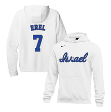 Load image into Gallery viewer, Youth Tal Erel Name and Number NIKE® Hoodie - Blue, White