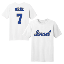 Load image into Gallery viewer, Youth Tal Erel Name and Number T-Shirt - Blue, White