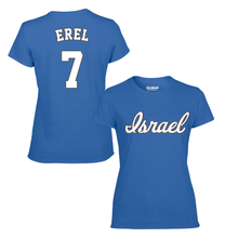 Load image into Gallery viewer, Women's Tal Erel Name and Number T-Shirt - Blue, White