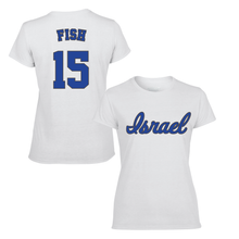 Load image into Gallery viewer, Women's Nate Fish Name and Number T-Shirt - Blue, White