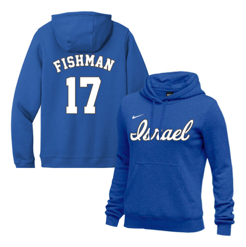 Women's Jake Fishman Name and Number NIKE® Hoodie - Blue, White