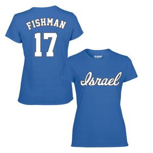 Women's Jake Fishman Name and Number T-Shirt - Blue, White