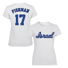 Load image into Gallery viewer, Women's Jake Fishman Name and Number T-Shirt - Blue, White
