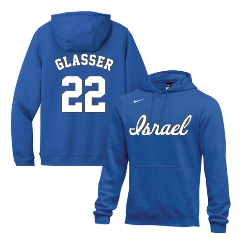 Men's Mitch Glasser Name and Number NIKE® Hoodie - Blue, White