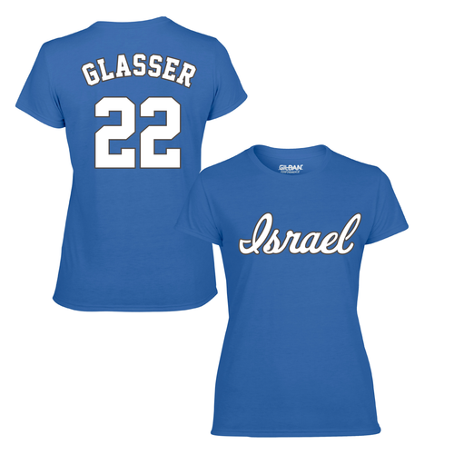 Women's Mitch Glasser Name and Number T-Shirt - Blue, White