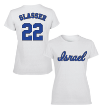 Load image into Gallery viewer, Women's Mitch Glasser Name and Number T-Shirt - Blue, White