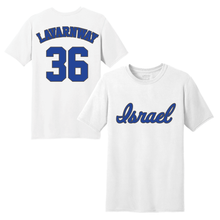 Load image into Gallery viewer, Youth Ryan Lavarnway Name and Number T-Shirt - Blue, White