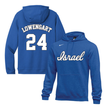 Load image into Gallery viewer, Youth Assaf Lowengart Name and Number NIKE® Hoodie - Blue, White