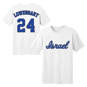 Men's Assaf Lowengart Name and Number T-Shirt - Blue, White