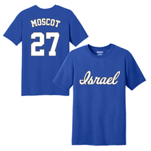 Load image into Gallery viewer, Youth Jon Moscot Name and Number T-Shirt - Blue, White