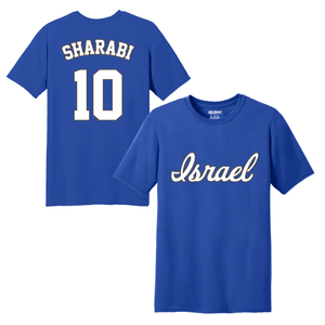 Youth DJ Sharabi Name and Number T-Shirt - Blue, White