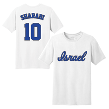 Load image into Gallery viewer, Youth DJ Sharabi Name and Number T-Shirt - Blue, White