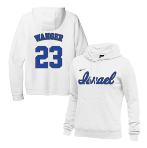 Women's Ben Wanger Name and Number NIKE® Hoodie - Blue, White