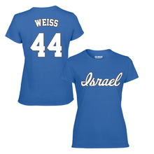Load image into Gallery viewer, Women's Zack Weiss Name and Number T-Shirt - Blue, White